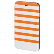 HAMA Plånboksväska DesignLine iPhone 6 Stripe Orange/Vit
