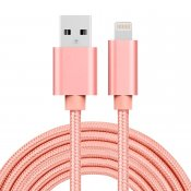 Lightning USB-textilkabel för iPhone & iPad Roséguld 3m