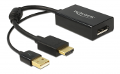 DeLOCK HDMI till Displayport adapter, 4K, HDMI ha, DP hona, svart