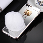Fashioncase med fluffig boll och spegel - iPhone 7 / 8 Plus