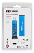 Kingston 32GB Keypad USB 3.0 DT2000, 256bit AES Hårdvaru krypterad