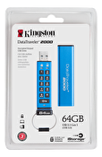 Kingston DataTraveler 2000, 64GB USB minne, 256-bit aes, numpad, blå/s