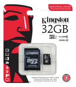 Kingston Minneskort 32GB microSDHC UHS-I Class 10 Industrial & SD-adapter