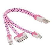 3 i 1 Laddkabel iPhone/Samsung/HTC mfl 20 cm Rosa