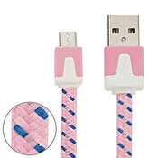 Micro USB Laddare med tygkabel 3m Rosa
