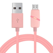 Micro USB-laddare med LED 1m Rosa