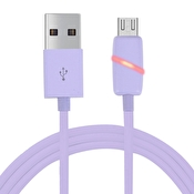 Micro USB - USB Kabel med LED till Samsung/Sony/HTC/Huawei Lila, 1m
