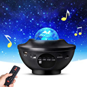 Stjärnprojektor LED - Galaxy Star Projector -Högtalare Bluetooth Black