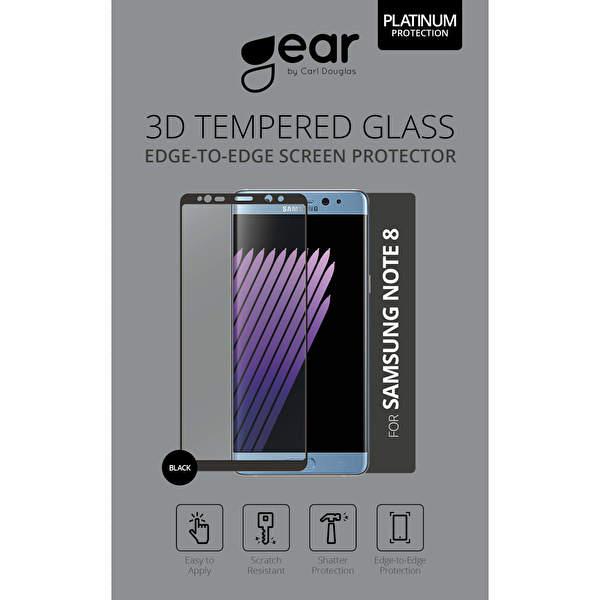 GEAR Härdat Glas 3D Samsung Note 8 Edge to Edge Svart