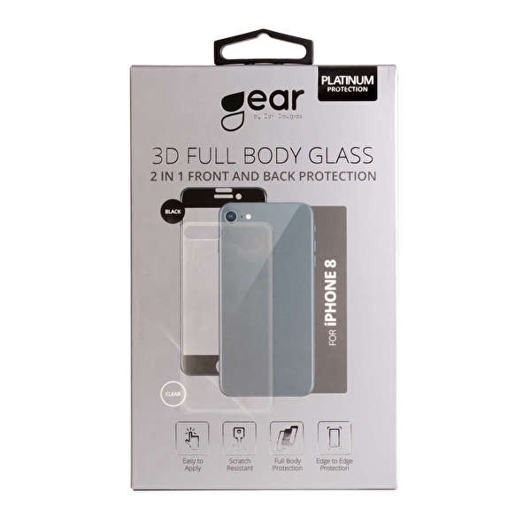 GEAR Härdat Glas 3D 2in1 Front & Back  iPhone8 Edge to Edge Svart med Klar baksida