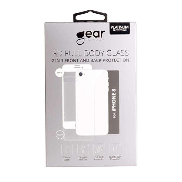 GEAR Härdat Glas 3D 2in1 Front & Back  iPhone8 Edge to Edge Vit med Klar baksida