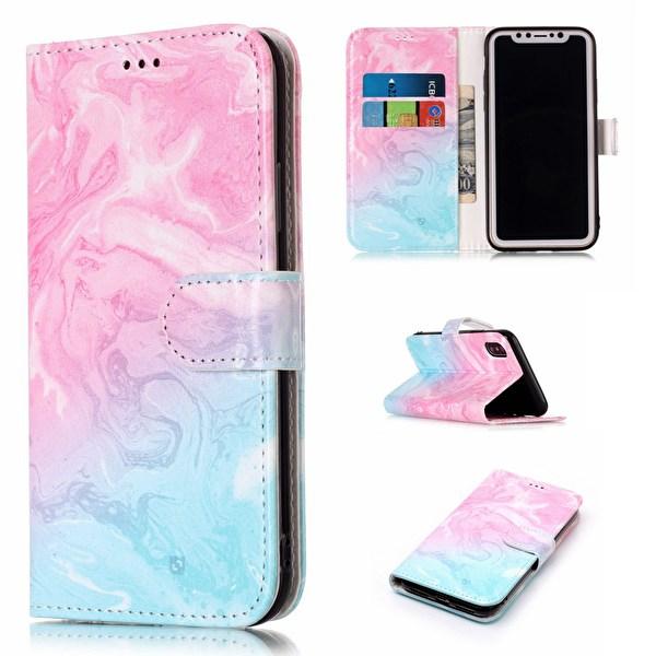 Läderfodral med korthållare & magnetlås till iPhone XS (målarfärg)