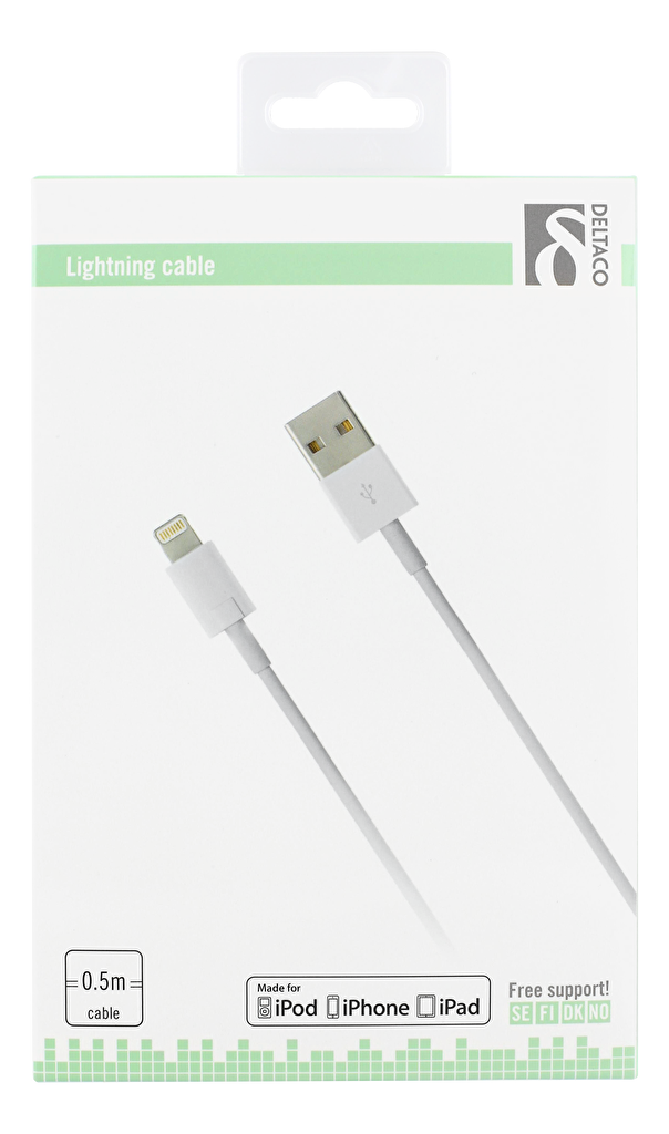 DELTACO Lightning till USB kabel för iPhone & iPad, MFi, vit